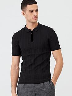 river-island-black-rib-knit-muscle-fit-half-zip-polo-shirt