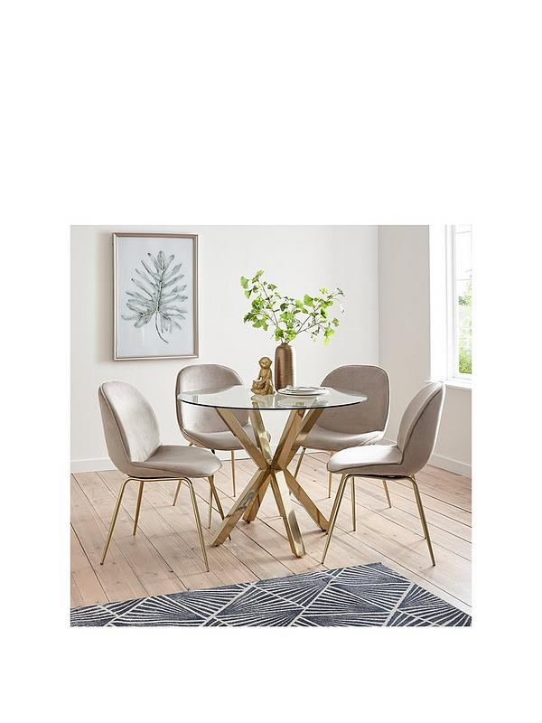 Michelle Keegan Home Chopstick 100 Cm Round Brass Dining Table 4 Penny Velvet Chairs Brass Taupe Littlewoodsireland Ie