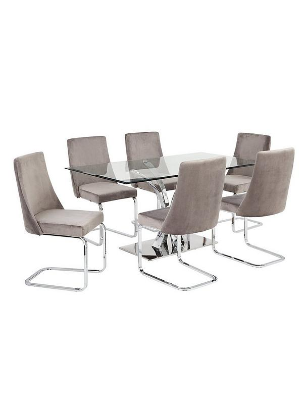 Alice 160 Cm Rectangle Glass And Chrome Dining Table 6 Velvet Chairs Littlewoodsireland Ie
