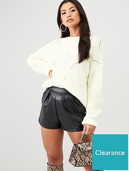 in-the-style-in-the-style-x-billie-faiers-scallop-knit-oversized-jumper-cream