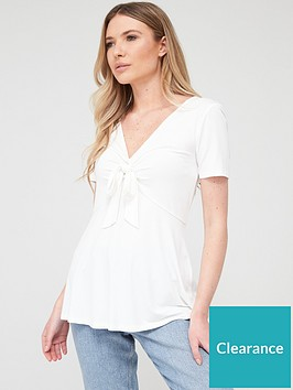 v-by-very-tie-front-short-sleeve-top-ivorynbsp