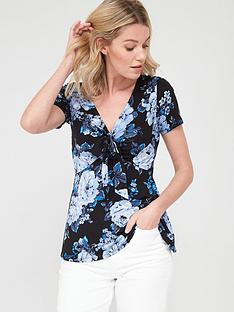 v-by-very-tie-front-short-sleeve-top-floral