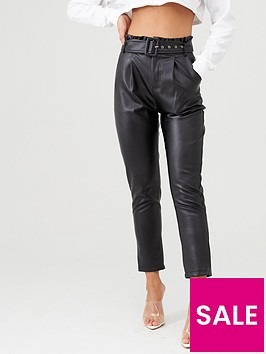 in-the-style-in-the-style-x-stephsa-faux-leather-paperbag-trouser-black