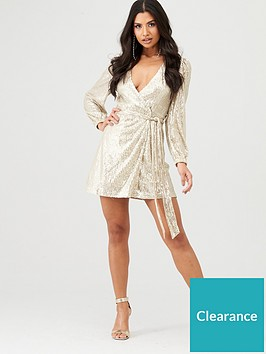 in-the-style-in-the-style-x-stephsa-sequin-wrap-dress-gold