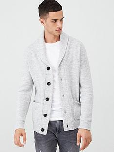 river-island-grey-knitted-shawl-collar-cardigan