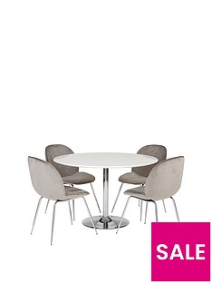 trumpet-1165-cm-dining-table-4-penny-velvet-chairs
