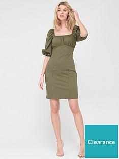 v-by-very-puff-sleeve-jacquard-dress-khakinbsp