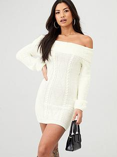 in-the-style-in-the-style-x-billie-faiers-cable-knit-bardot-mini-dress-cream
