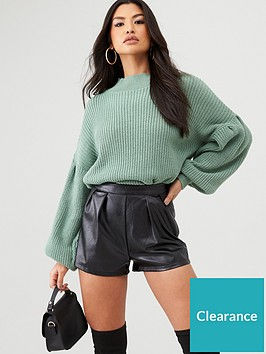 in-the-style-in-the-style-x-billie-faiers-balloon-sleeve-slouchy-knit-jumper-green