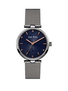 jack-wills-jack-wills-blue-textured-rose-gold-detail-and-crystal-set-dial-stainless-steel-mesh-strap-ladies-watch
