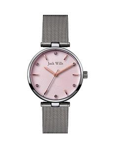 jack-wills-jack-wills-pink-fan-textured-rose-gold-detail-and-crystal-set-dial-stainless-steel-mesh-strap-ladies-watch