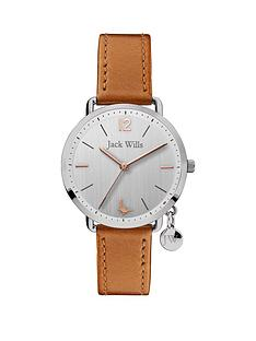 jack-wills-jack-wills-silver-brushed-dial-with-gold-detail-and-charm-tan-leather-strap-ladies-watch