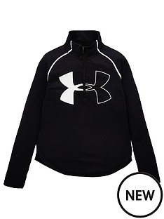 under-armour-girls-tech-graphic-big-logo-12-zip-top-blackwhite