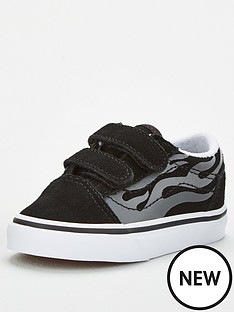vans-old-skool-v-suede-flame-toddler-trainers-blackwhite