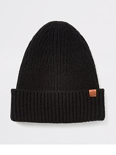 river-island-black-fisherman-knit-beanie-hat