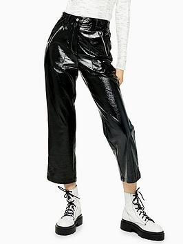 topshop-vinyl-straight-leg-trousers-black