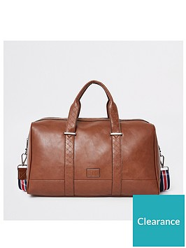 river-island-light-brown-ri-monogram-trim-holdall