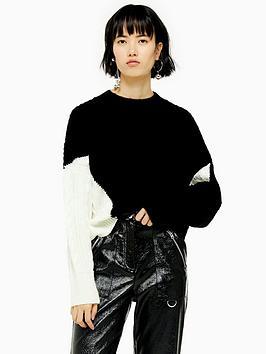 topshop-colour-block-cable-knit-jumper-monochrome