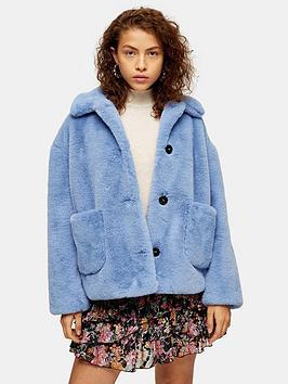 topshop-crop-button-faux-fur-coat-blue