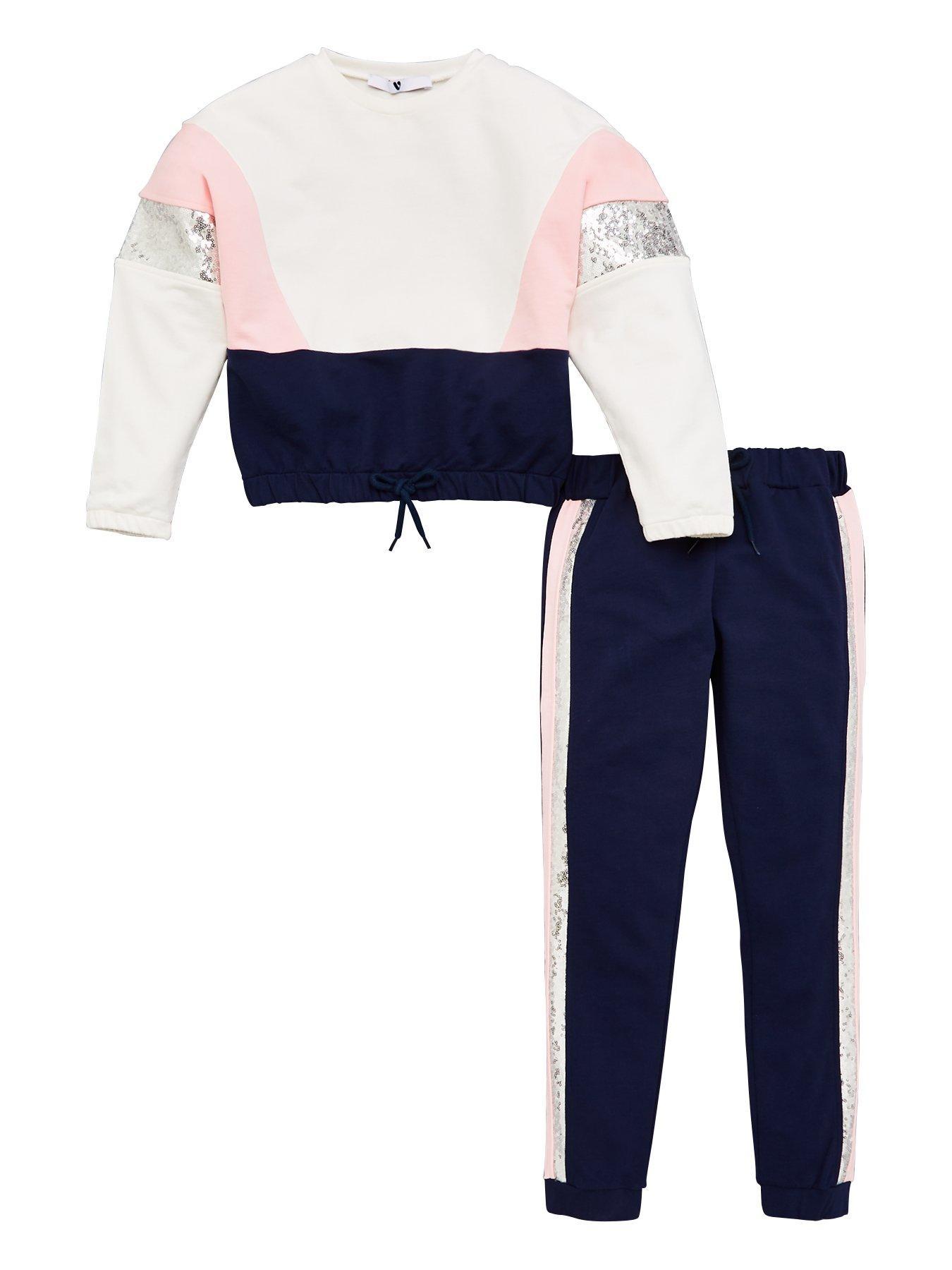 7-14 YRS Girls Kids Cross String Sweatshirt Trouser Loungewear Tracksuit Age