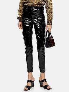 topshop-topshop-vinyl-jamie-jeans-black