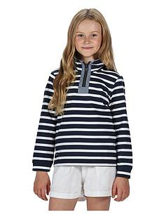 regatta-girls-benji-stripe-14-zip-sweat-navywhite