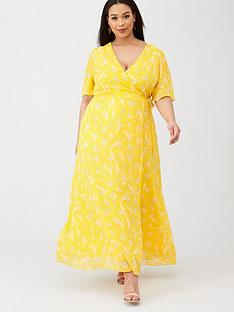 v-by-very-curve-wrap-front-maxi-tea-dress-yellow-floral