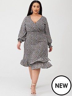 v-by-very-curve-shirred-waist-wrap-dress-print