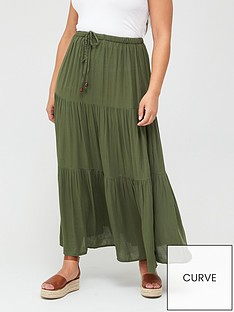 v-by-very-curve-crinkle-tiered-maxi-skirt-khaki