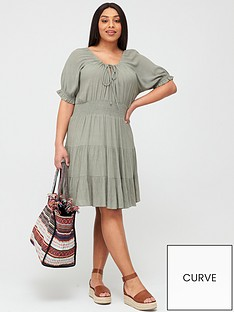 v-by-very-curve-tiered-crinkle-dress-khaki