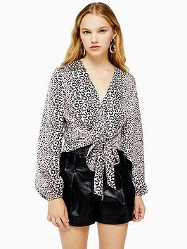 topshop-topshop-animal-tie-front-blouse-nude