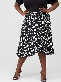 v-by-very-curve-ruffle-front-print-skirt-monochrome