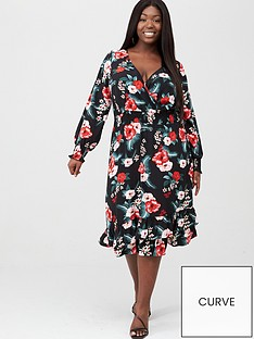 v-by-very-curve-shirred-waist-wrap-dress-print