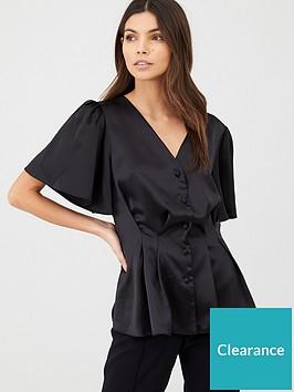 v-by-very-pintuck-satin-blouse-black