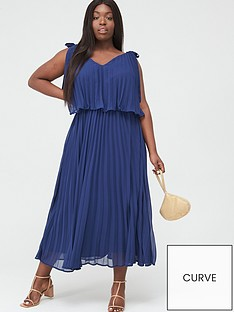 v-by-very-curve-tiered-pleated-chiffon-midi-dress-navy