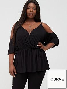 v-by-very-curve-cold-shoulder-elasticated-waist-top-black