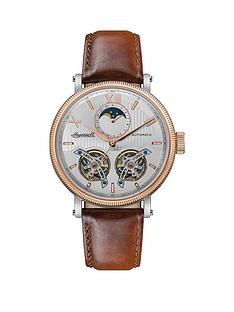 ingersoll-ingersoll-hollywood-silver-and-rose-gold-moonphase-automatic-dial-brown-leather-strap-watch