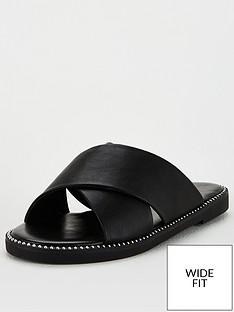 v-by-very-hara-wide-fit-cross-strap-slider-black