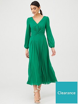 v-by-very-twist-front-midaxi-dress-green