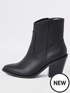 river-island-river-island-pu-western-ankle-boot-black