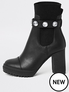 river-island-river-island-embellished-strap-sock-boot-black