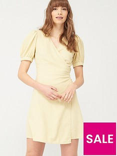 v-by-very-linen-wrap-dress-green