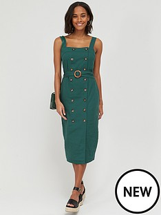 v-by-very-button-through-midi-pinny-linen-dress-green