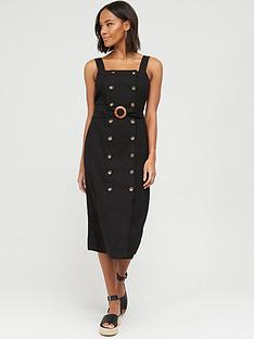 v-by-very-button-through-midi-pinny-linen-dress-black