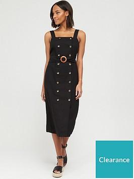 v-by-very-button-through-midi-pinny-linen-dress-black