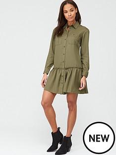 v-by-very-frill-mini-dress-khaki