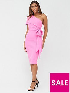 v-by-very-one-shoulder-structured-bodycon-dress-pink