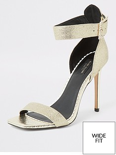 river-island-river-island-wide-fit-sparkle-buckle-heel-sandal-gold