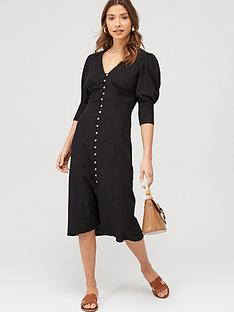 v-by-very-linen-v-neck-button-through-midi-dress-black
