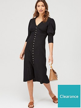 v-by-very-linen-v-neck-button-through-midi-dress-black